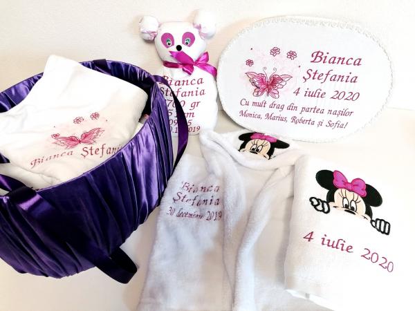 Trusou botez personalizat complet Butterfly Burgundy [0]
