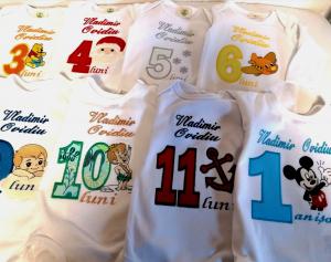 Set 12 body-uri aniversare personalizate pentru baieti [0]