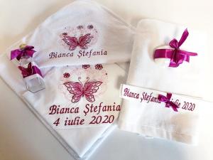 Trusou botez personalizat 6 piese Butterfly Burgundy [0]