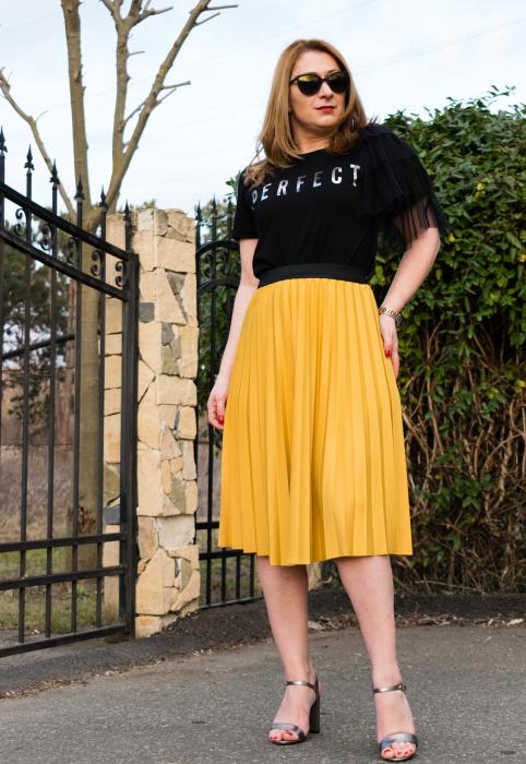 Fusta Plisata Sunny Yellow 1