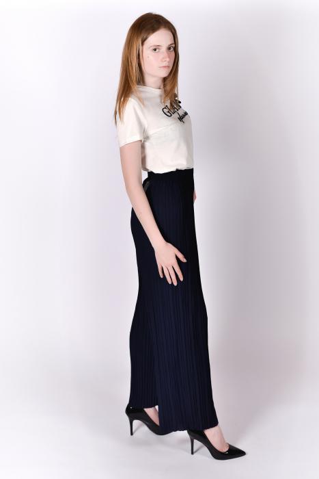 Pantaloni plisati bleumarin 0