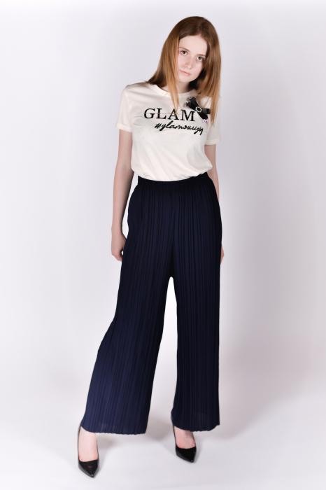 Pantaloni plisati bleumarin 1