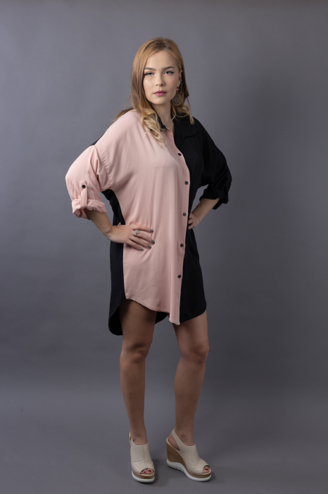 Rochie oversize Black/Nude 4