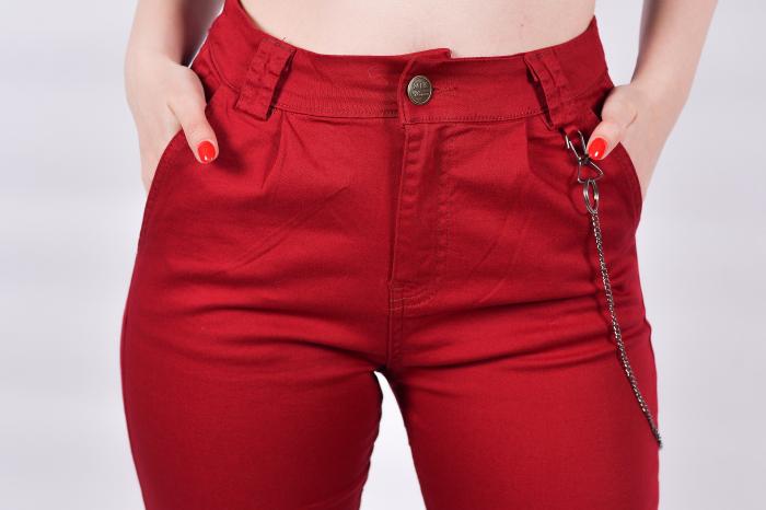 Pantaloni Bordo cu lant 2