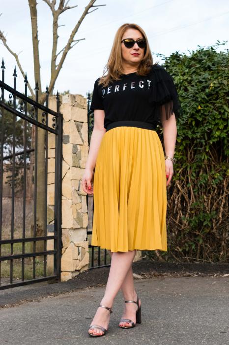 Fusta Plisata Sunny Yellow 2