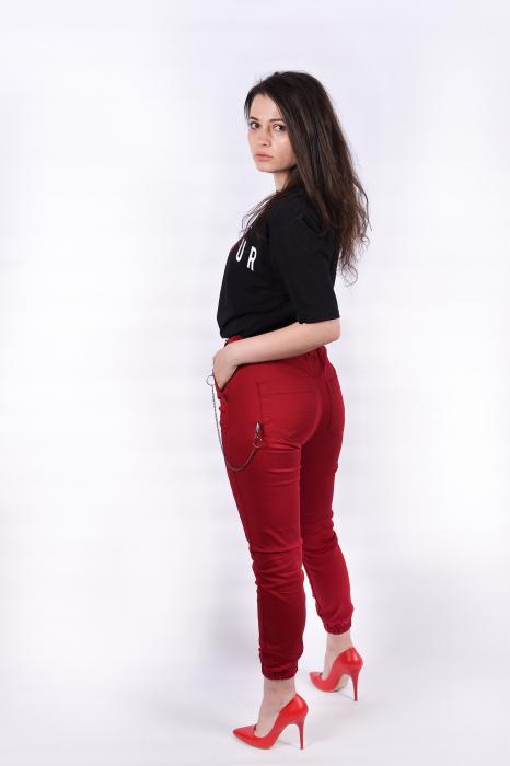 Pantaloni Bordo cu lant 1