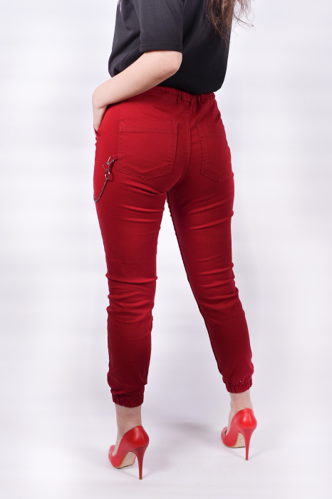 Pantaloni Bordo cu lant 4