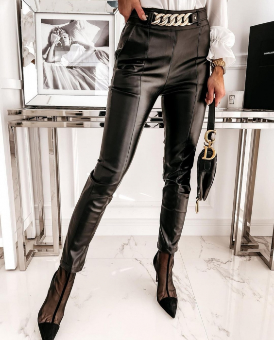 Pantaloni Eco Piele Gloria Black 1