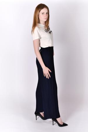 Pantaloni plisati bleumarin0