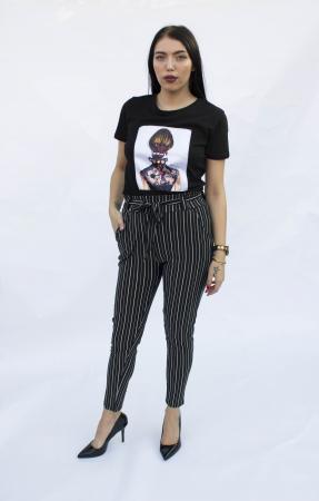 Pantaloni negri cu dungi1