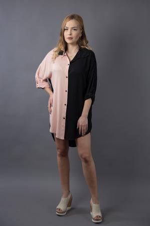 Rochie oversize Black/Nude0