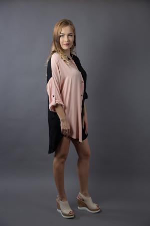 Rochie oversize Black/Nude1