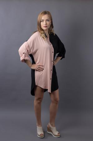 Rochie oversize Black/Nude4