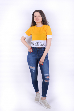 Tricou Power Girl Yellow2