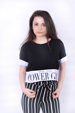 Tricou Power Girl Black1