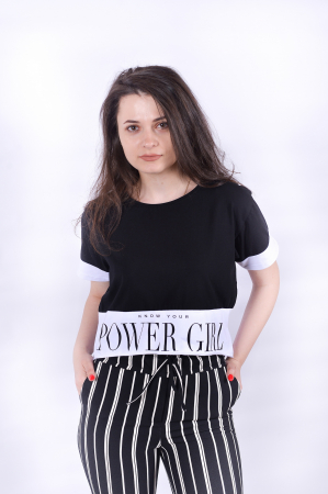 Tricou Power Girl Black0