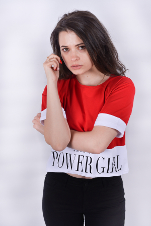 Tricou Power Girl Red2