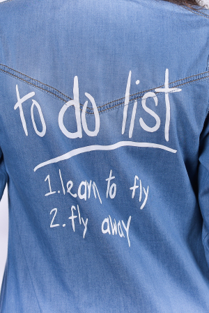"Camasa denim ""To Do List""1"