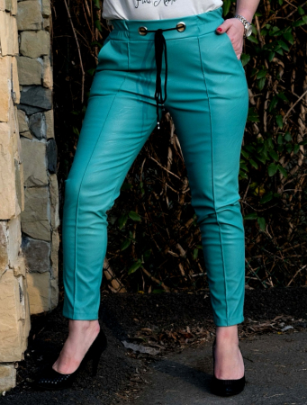 Pantaloni Eco Piele Emma Blue [0]