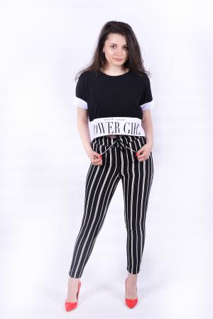 Pantaloni negri cu dungi albe [0]