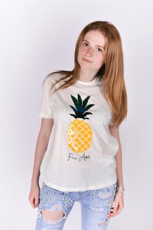 Tricou Fine Apple White0
