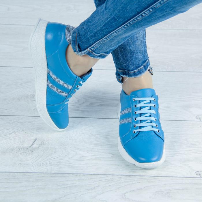 Adidasi dama din piele naturala albastra MSPD58719-20 [0]
