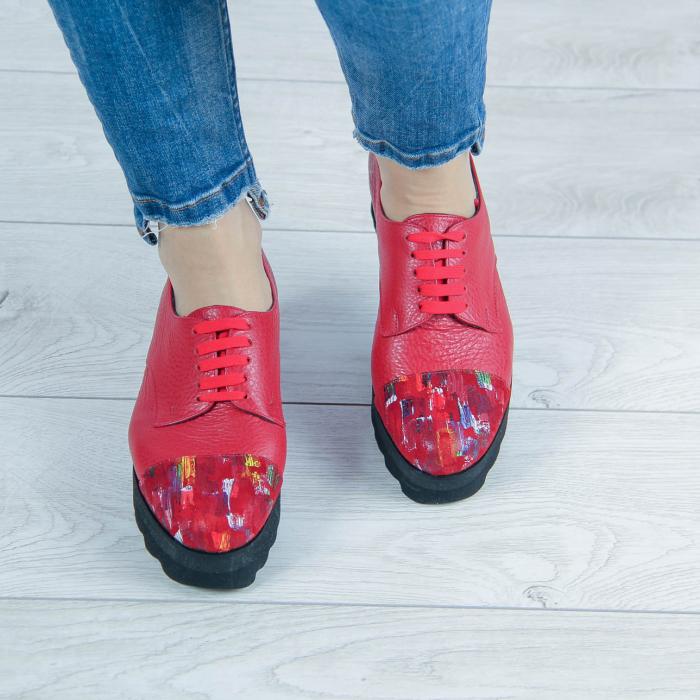 Pantofi dama din piele naturala bizonata rosie MSPD59016-2-20 1