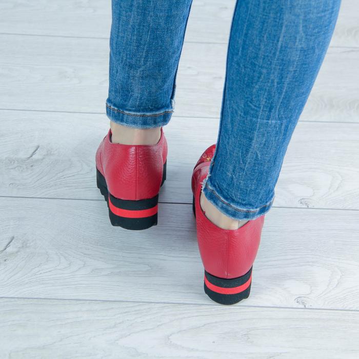Pantofi dama din piele naturala bizonata rosie MSPD59016-2-20 2