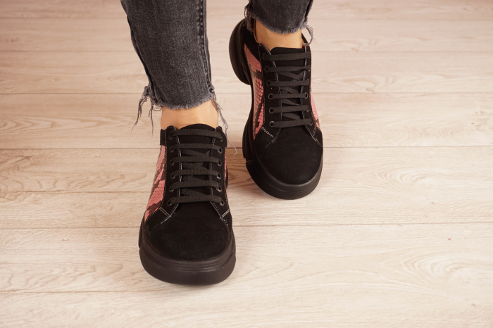 Adidasi dama din piele naturala camoscio negru MSPD51421-21 [3]