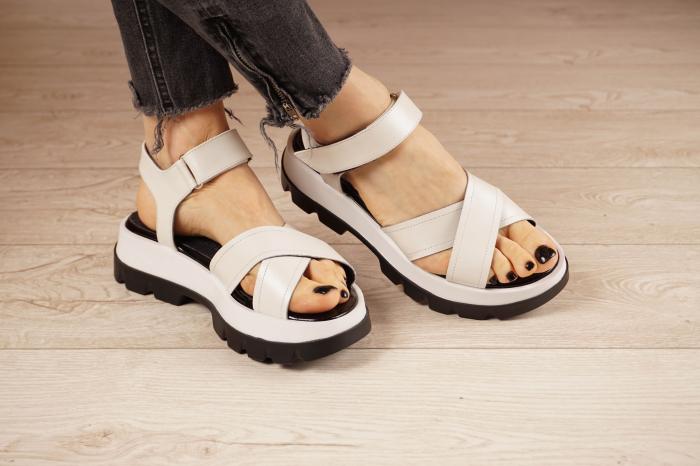 Sandale din piele naturala alba MSSD0821-21 [0]