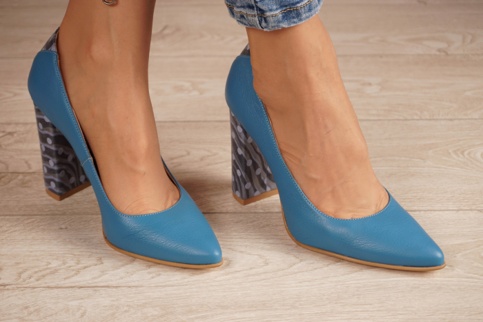 Pantofi dama din piele naturala albastra MSPD50716-1-20 [0]