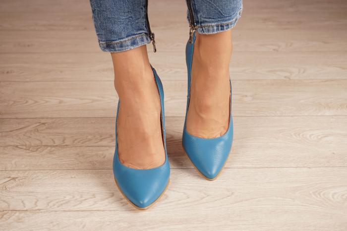 Pantofi dama din piele naturala albastra MSPD50716-1-20 [2]