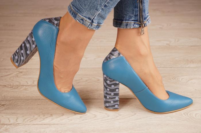 Pantofi dama din piele naturala albastra MSPD50716-1-20 [1]