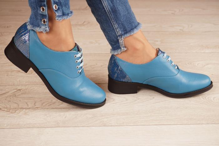 Pantofi dama din piele naturala albastra MSPD52420-1-20 [2]
