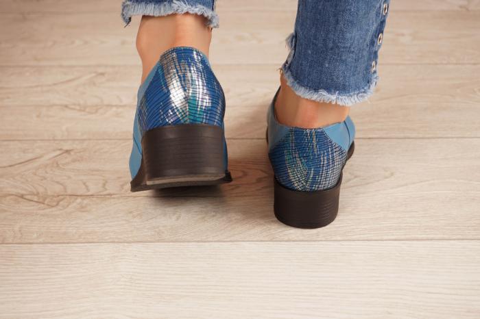 Pantofi dama din piele naturala albastra MSPD52420-1-20 [4]