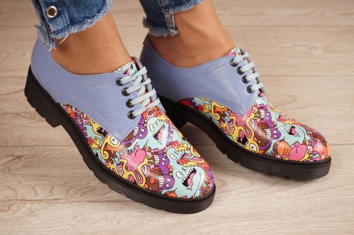 Pantofi dama din piele naturala albastra MSPD53017-8-20 [0]
