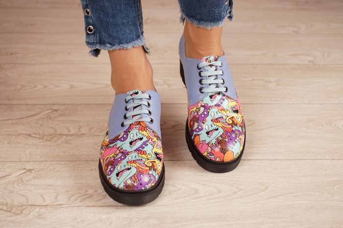 Pantofi dama din piele naturala albastra MSPD53017-8-20 [3]