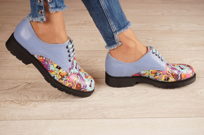 Pantofi dama din piele naturala albastra MSPD53017-8-20 [2]