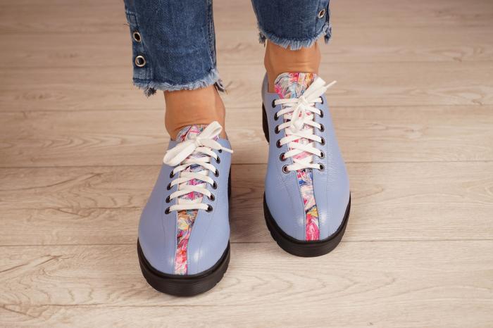 Pantofi dama din piele naturala albastra MSPD61420-20 3