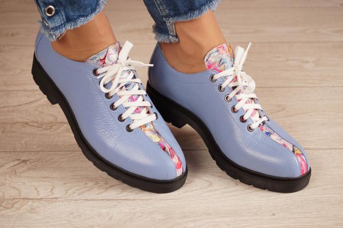 Pantofi dama din piele naturala albastra MSPD61420-20 0