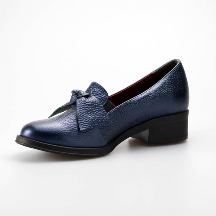 Pantofi dama din piele naturala bizonata bleumaren MSPD57319-1-19 2
