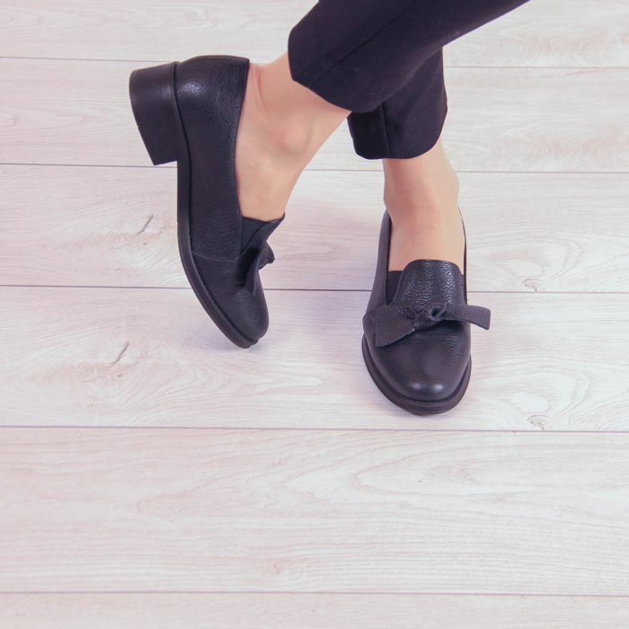 Pantofi dama din piele naturala bizonata neagra MSPD57319-1-20 0