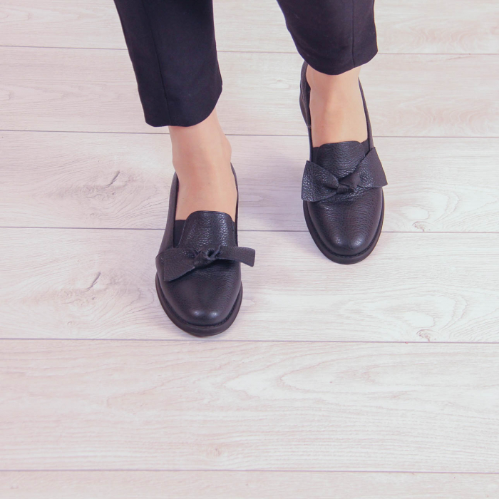 Pantofi dama din piele naturala bizonata neagra MSPD57319-1-20 1