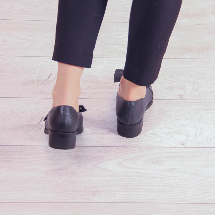 Pantofi dama din piele naturala bizonata neagra MSPD57319-1-20 2