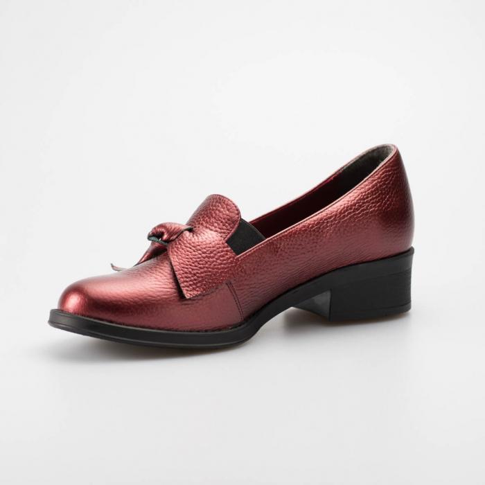 Pantofi dama din piele naturala bizonata bordo MSPD57319-19 [2]