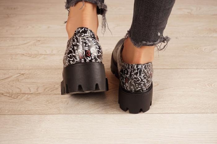 Pantofi dama din piele naturala neagra MSPD53017-17-20 4