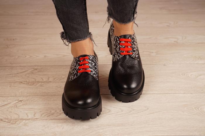 Pantofi dama din piele naturala neagra MSPD53017-17-20 3