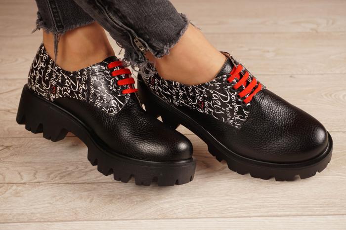 Pantofi dama din piele naturala neagra MSPD53017-17-20 1