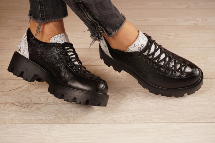 Pantofi dama din piele naturala neagra MSPD60120-20 [1]