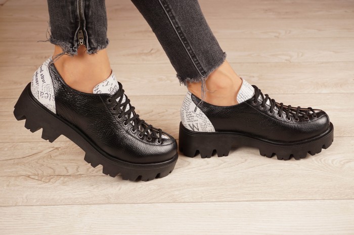 Pantofi dama din piele naturala neagra MSPD60120-20 [2]